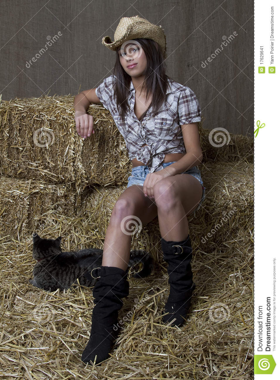 Cowgirl and her cat stock image. Image of young, country   50