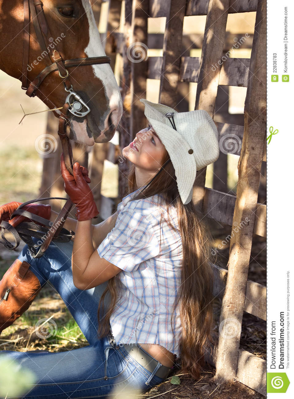 cowgirl with horse stock photos