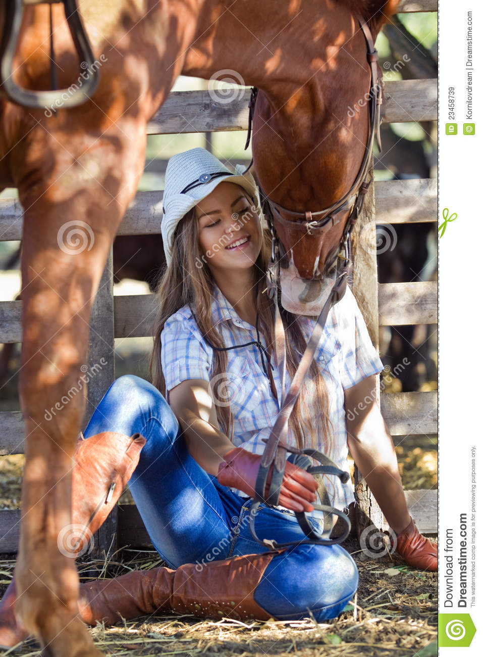 Cowgirl With Horse Royalty Free Stock Images Image 23458739