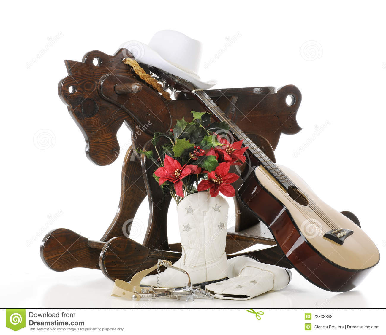 A Cowgirl Kind Of Christmas Stock Photo - Image of guitar, wood ...