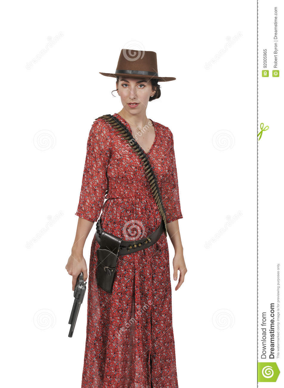 63ae2851f95 Cowgirl with relvolver stock image. Image of glamour - 92005965