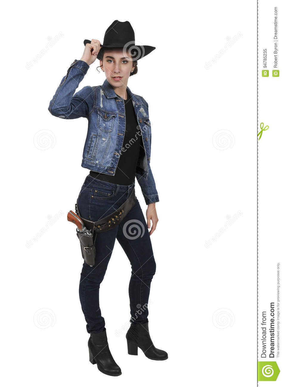 8056379eba9 Cowgirl with relvolver stock image. Image of shooters - 94785235