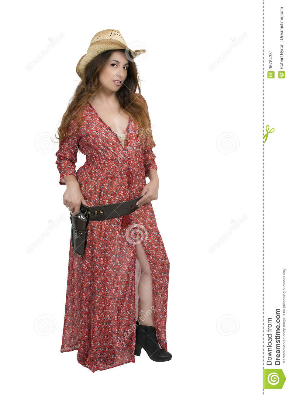e55604abbae Cowgirl with relvolver stock image. Image of pistol, gunslinger ...