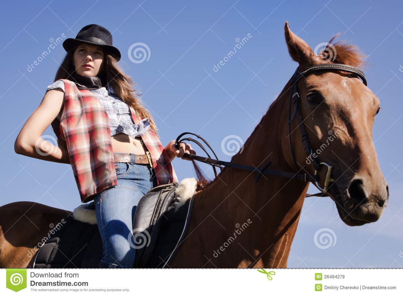 Cowgirl on hiorse busty