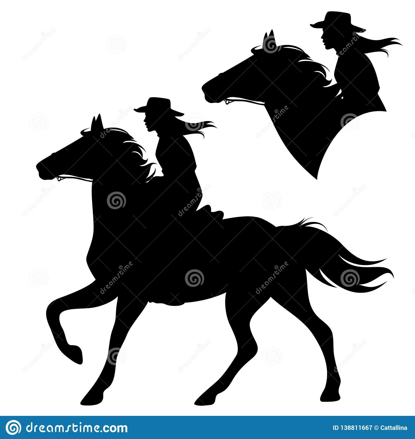 Horseback Cowboy Woman And Running Horse Vector Stock Vector Illustration Of Monochrome Female 138811667