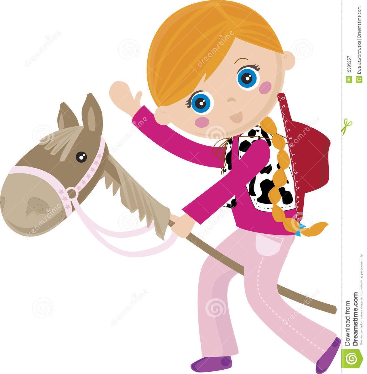Cowgirl Riding A Stick, Puppet Horse Royalty Free Stock Photography ...