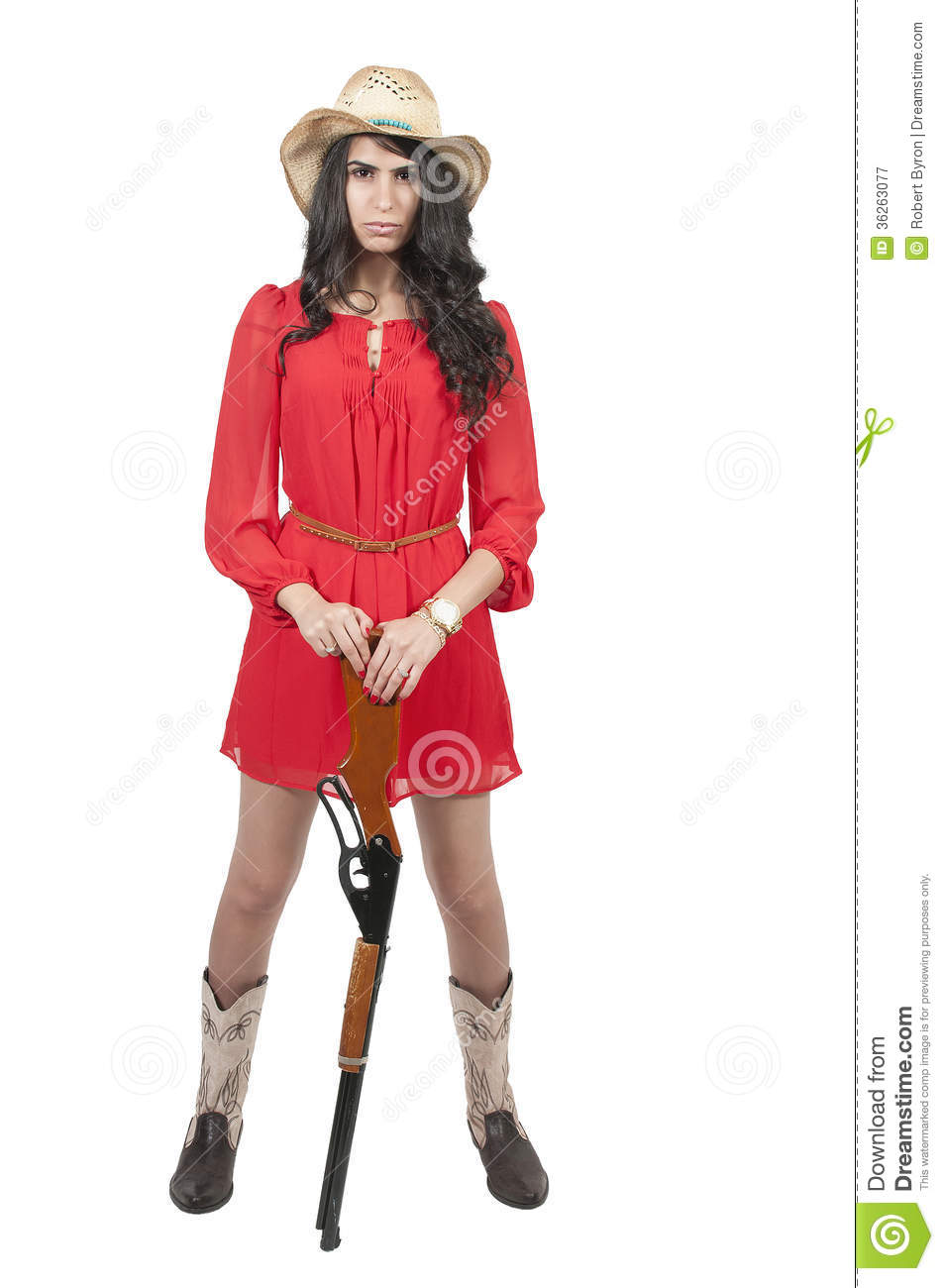 Beautiful young country girl woman wearing a stylish cowboy hat shooting a rifle  sc 1 st  Dreamstime.com & Cowgirl with Rifle stock image. Image of cowgirl seductive - 36263077