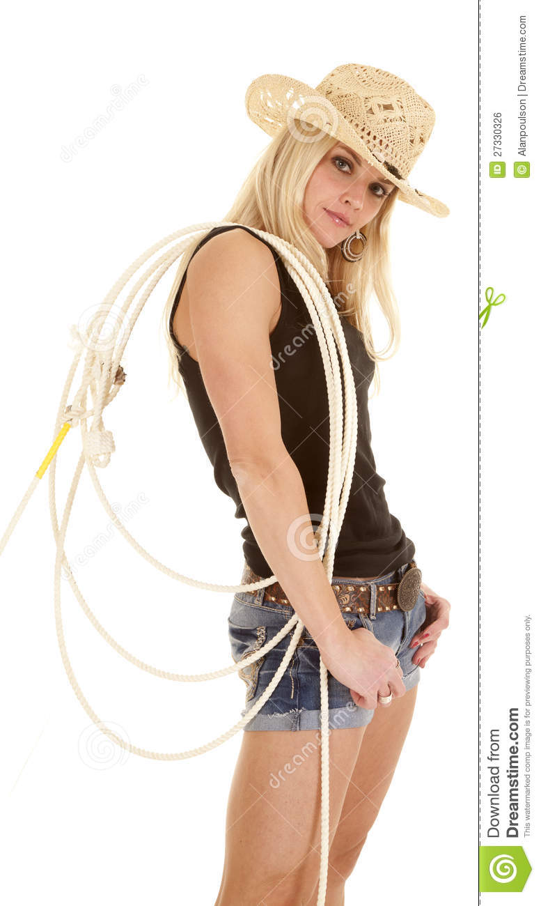 Cowgirl Rope Over Shoulder Royalty Free Stock Image - Image: 27330326