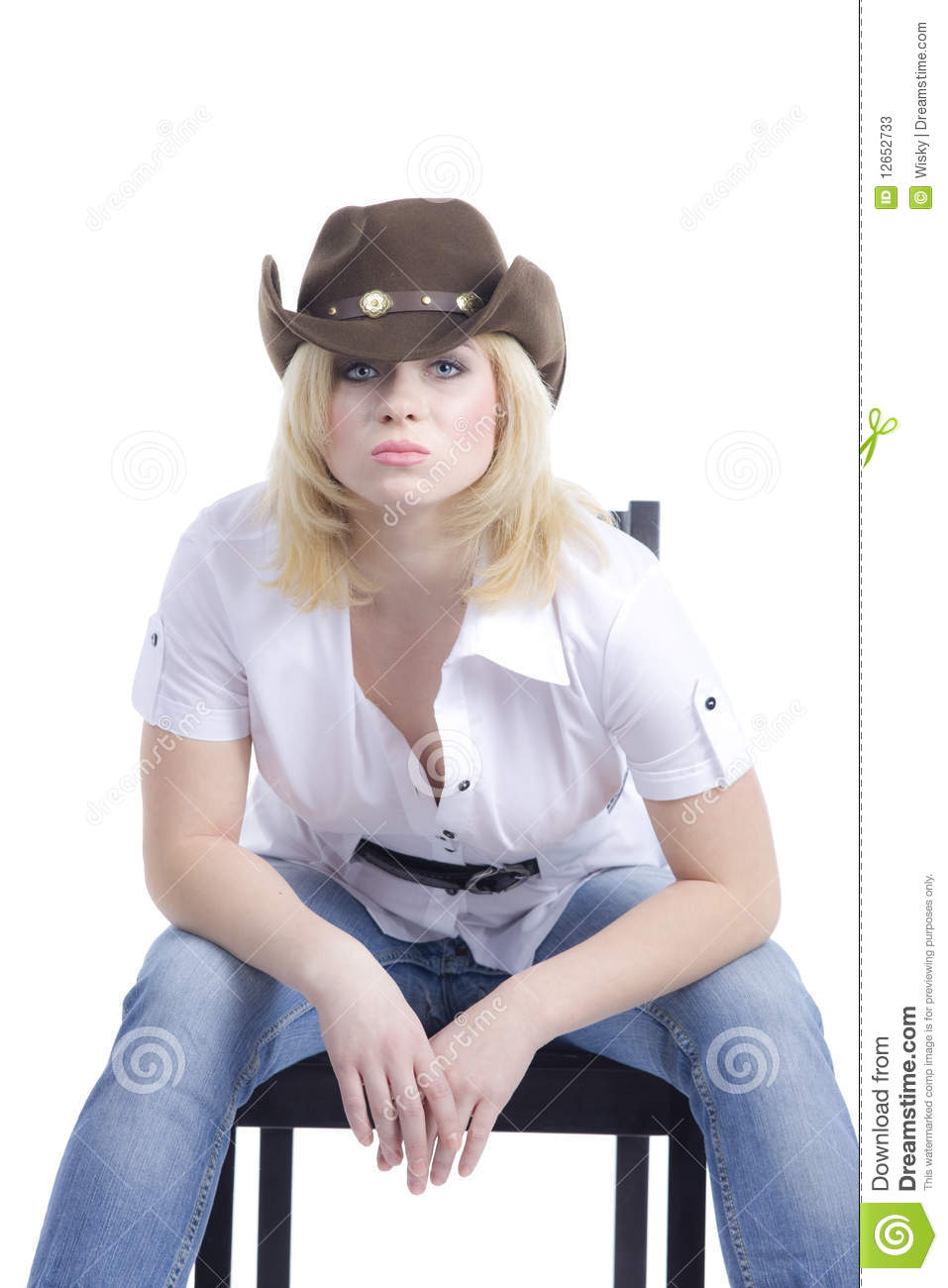 cowgirl sit and look at you stock image  image of look
