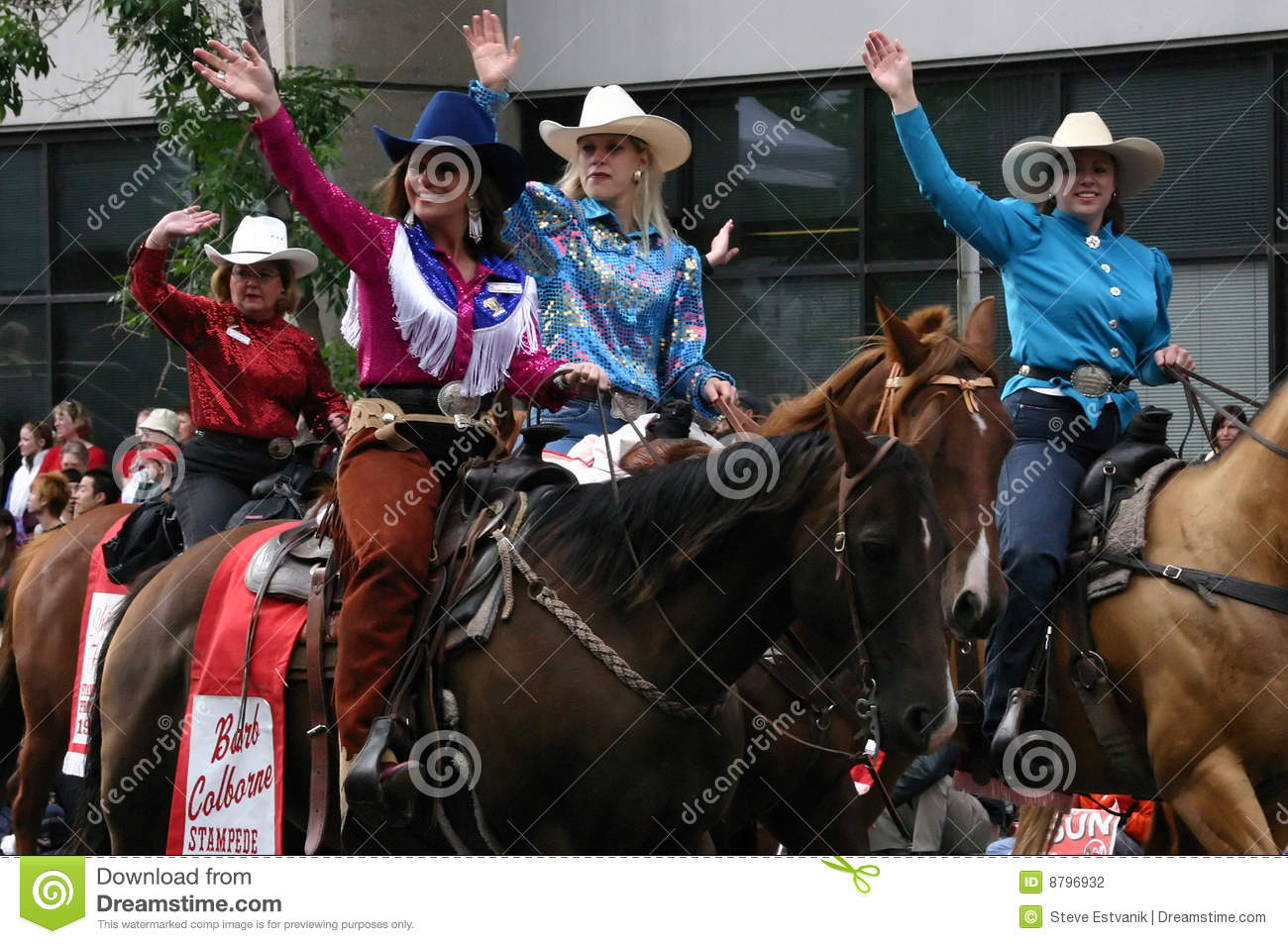Cowgirls Riding Horses In Parade Editorial Photography