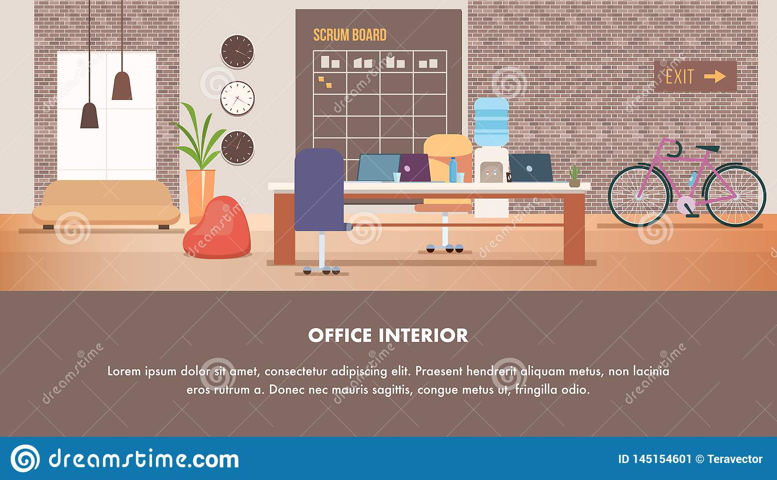 Coworking现代创造性的办公室室内设计