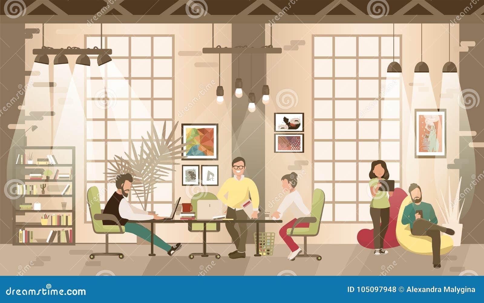 Coworking的办公室的概念