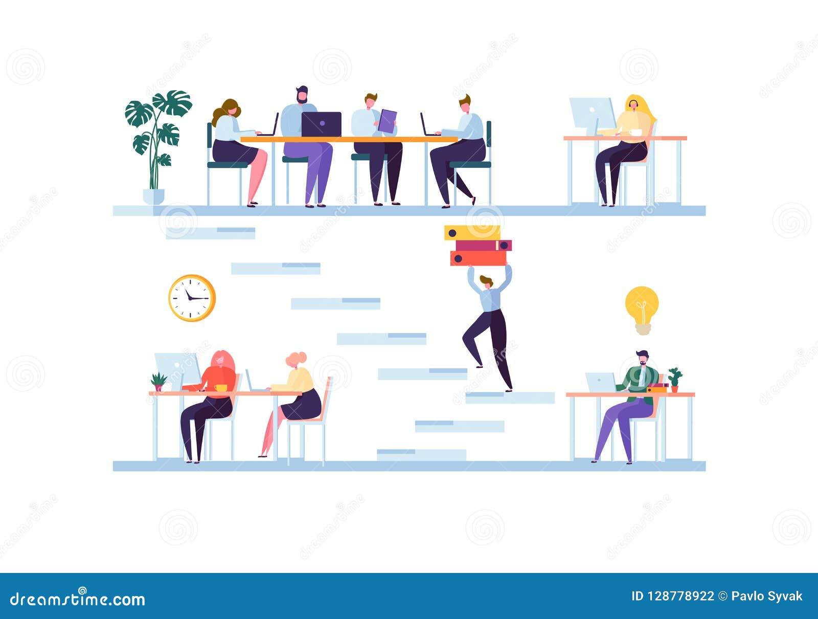 Coworking空间概念 工友字符队工作 办工室职员与膝上型计算机和计算机一起使用