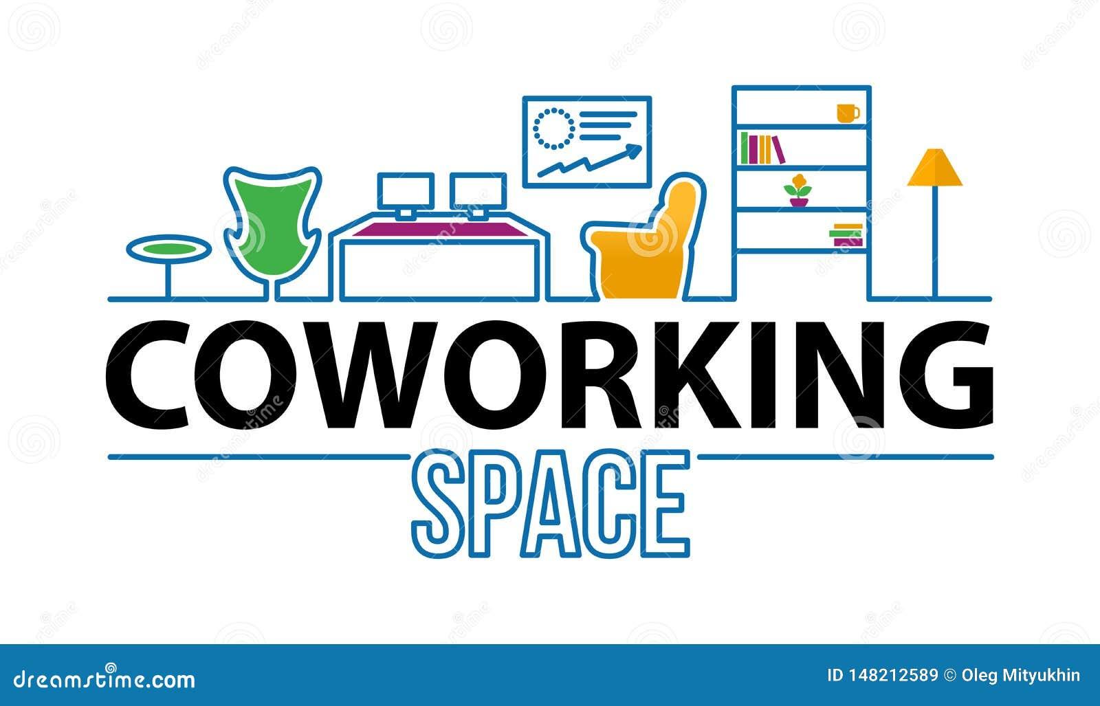 Coworking &办公室空间商标在现代内部 Coworking概念线象 简单的元素例证