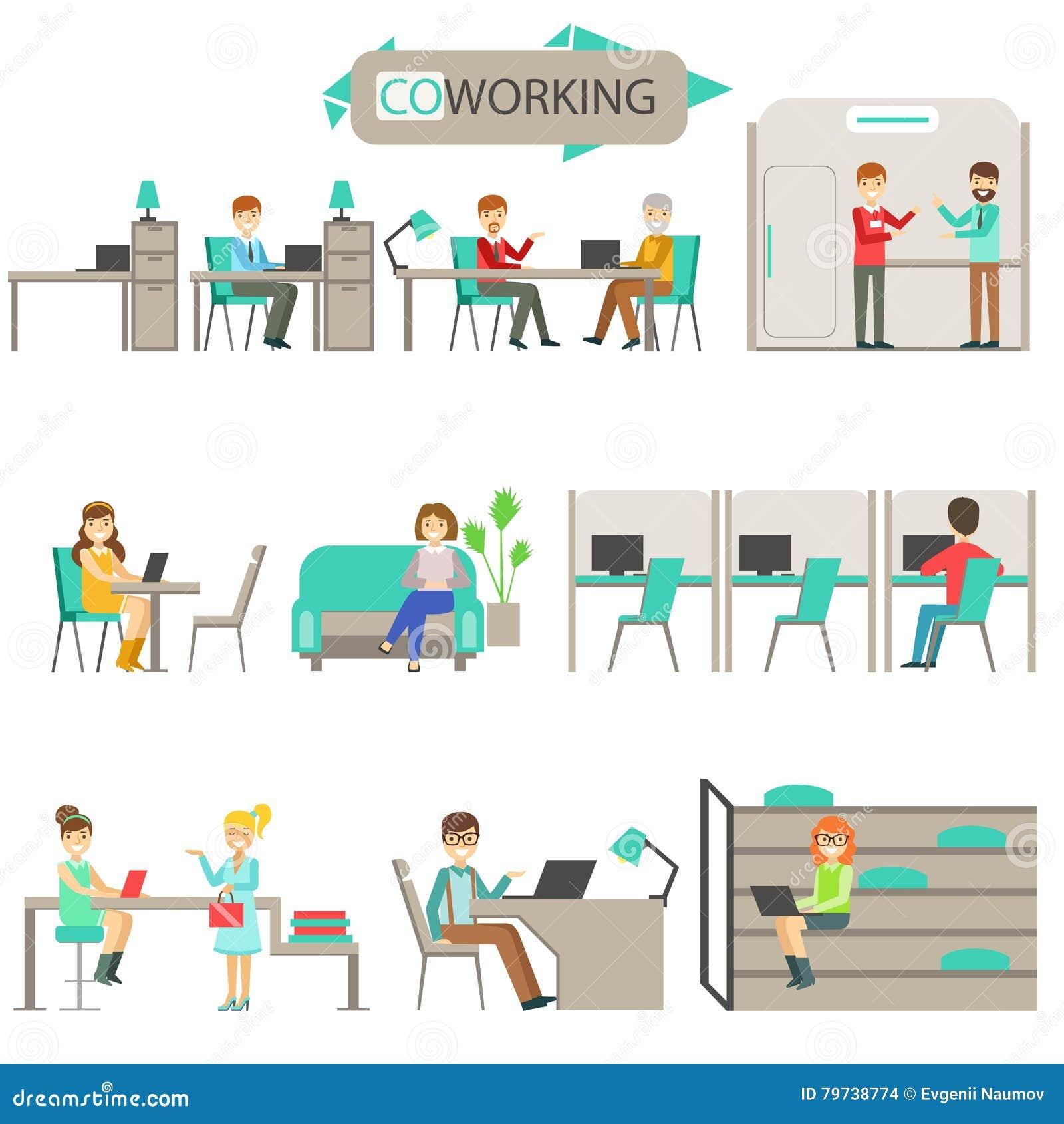Coworking en sistema moderno del ejemplo de Infographic de la oficina conceptora