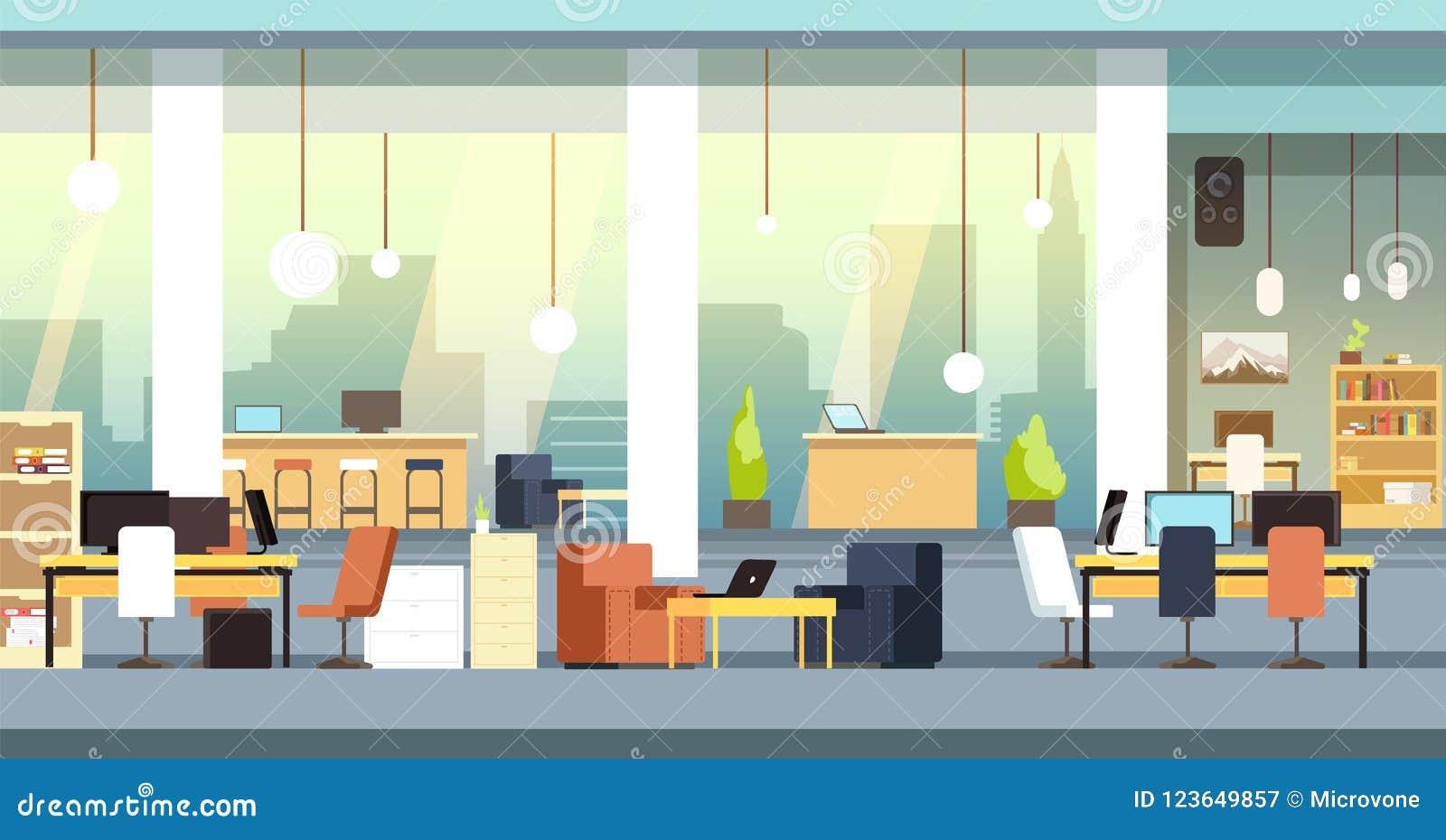 Coworking-Innenraum Leeres Büro des offenen Raumes, Arbeitsplatzvektorhintergrund