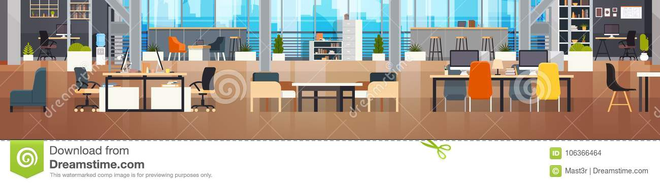 Coworking Office Interior Modern Coworking Center Creative Workplace Environment Horizontal Banner