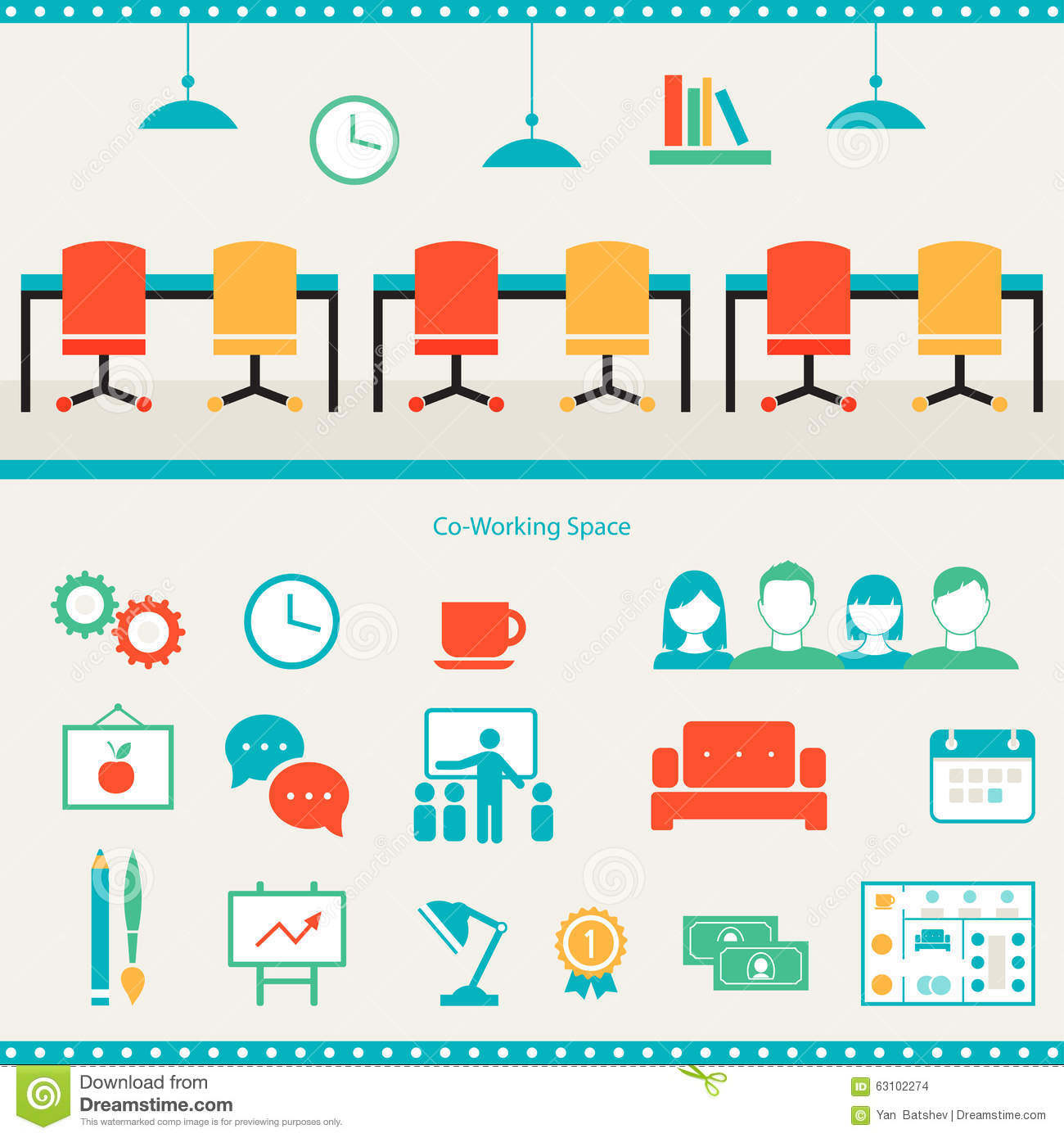 coworking space header and infographics elements stock  sofa set photo free download