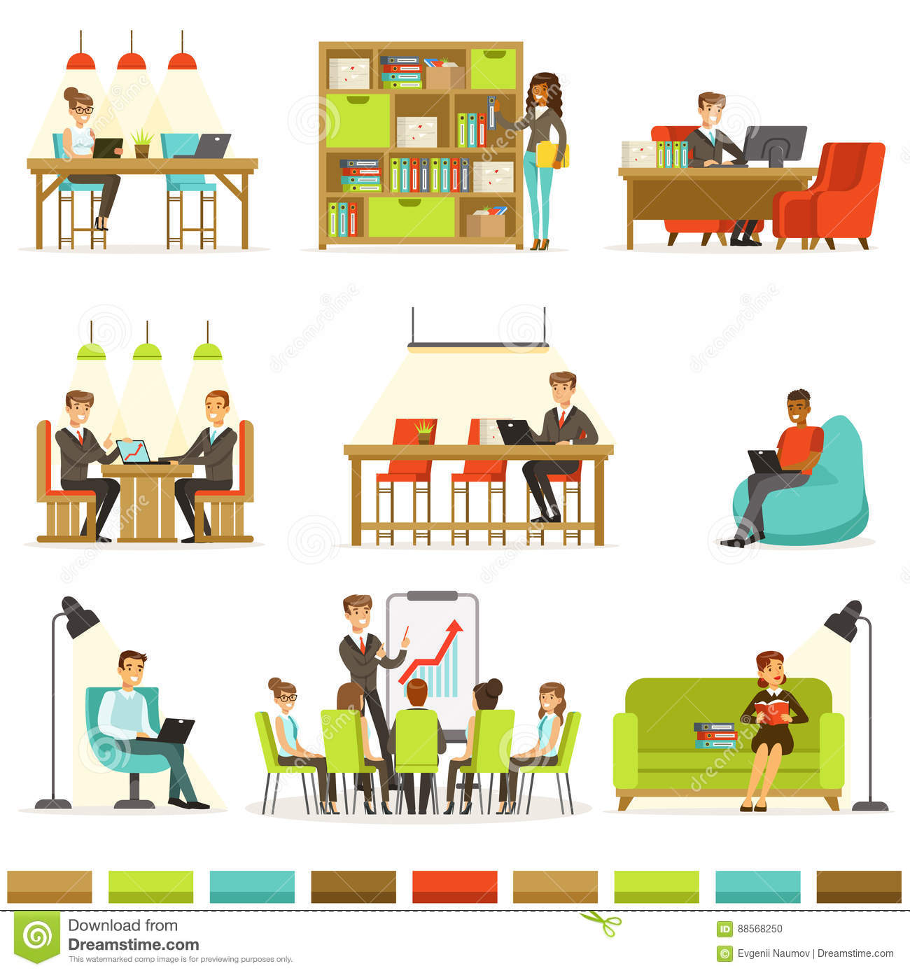 Coworking Workplace Freelancers Sharing Space And Ideas