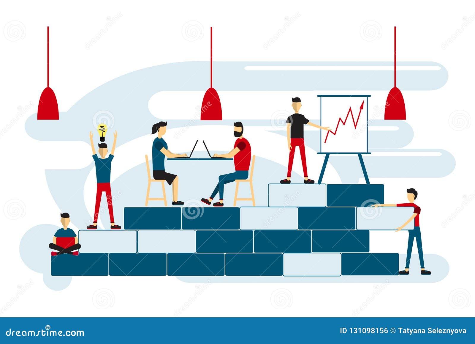 Coworkingsruimte met creatieve mensen die bij de lijst zitten Verhogingsverkoop en vaardigheden Team het denken en brainstorming