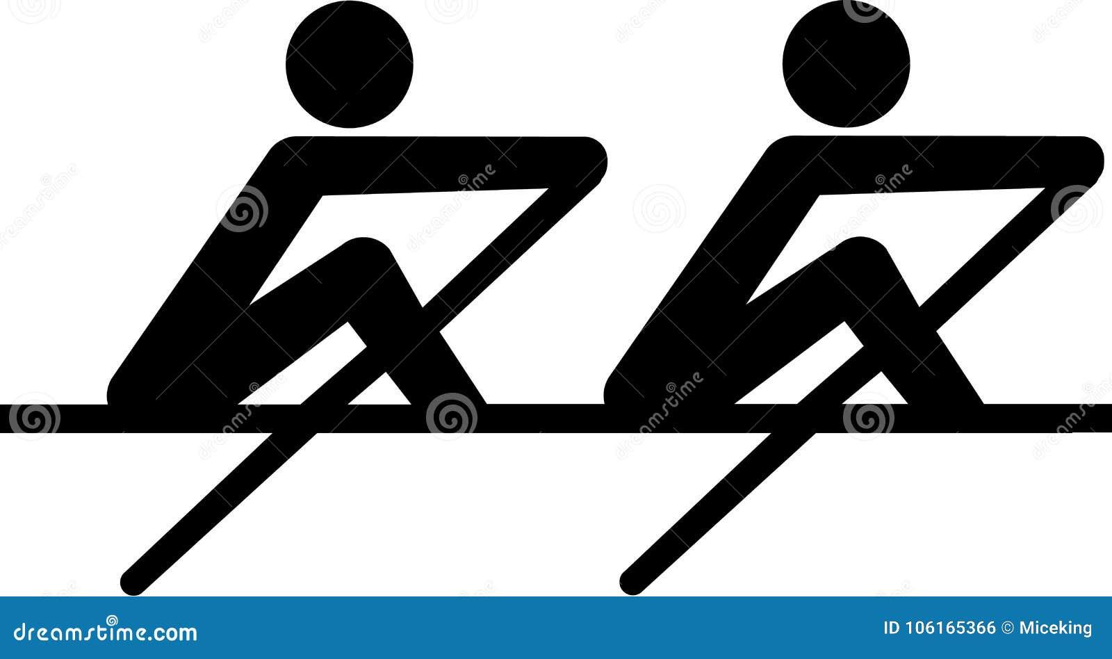 Coxless par för roddsymbol