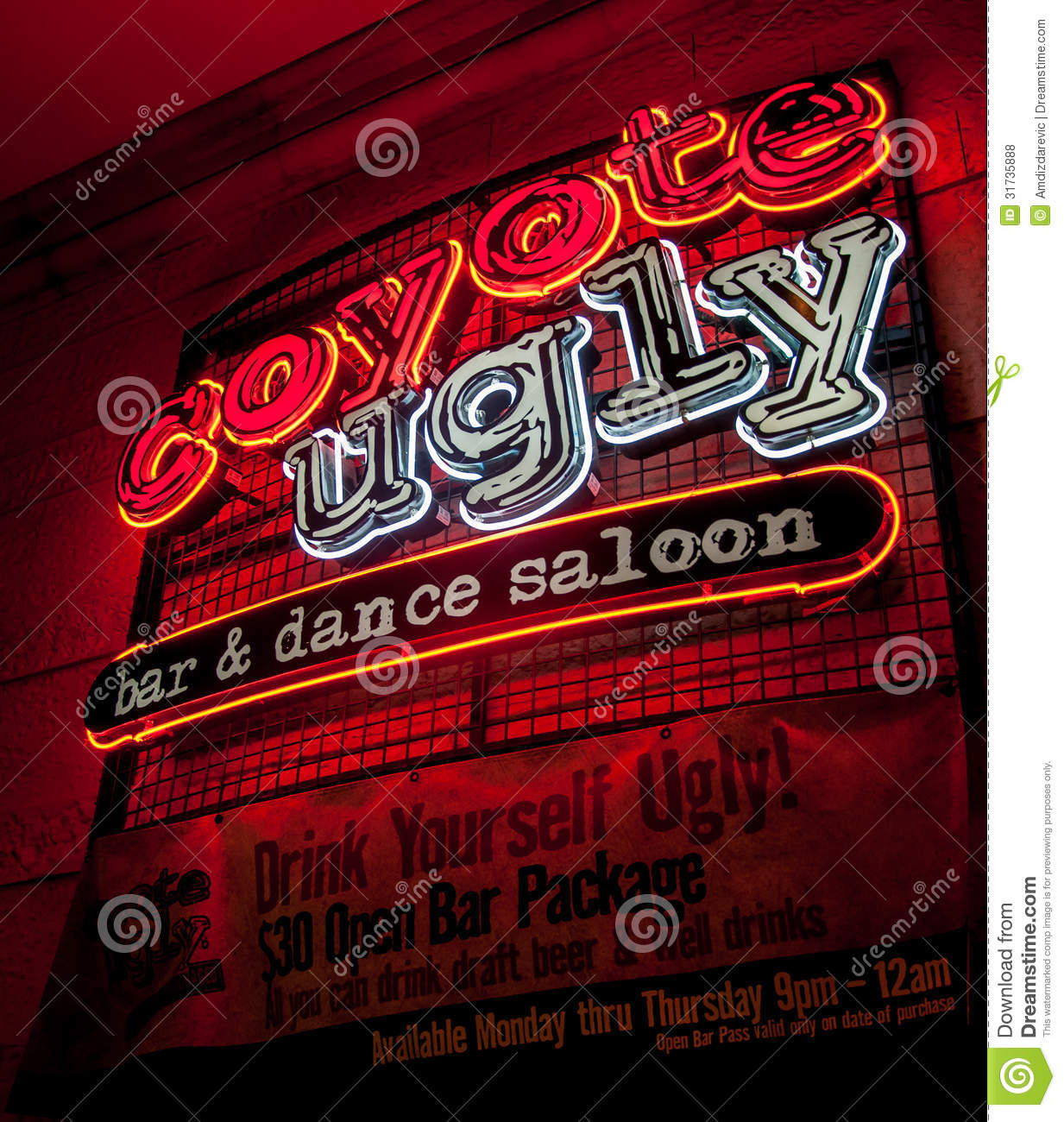 Coyote Ugly Neon Sign - Las Vegas Editorial Stock Photo - Image ...