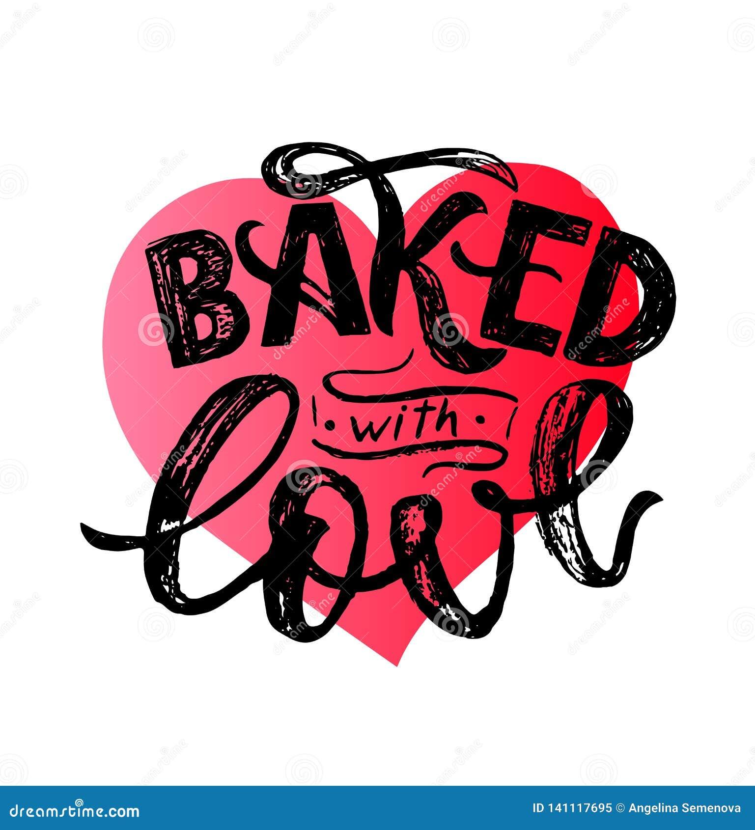 Cozido com rotulação da mão do amor Projeto tipográfico isolado no coração Ilustração do vetor