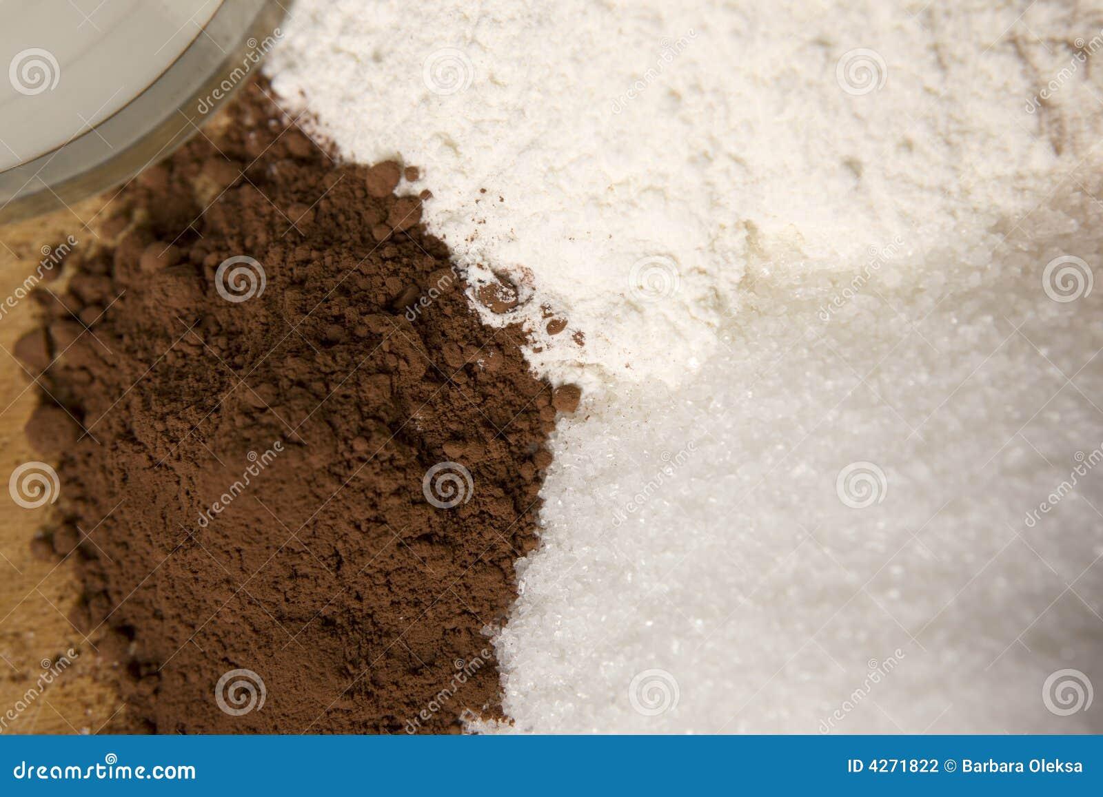 Cozimento com farinha do açúcar do cacau