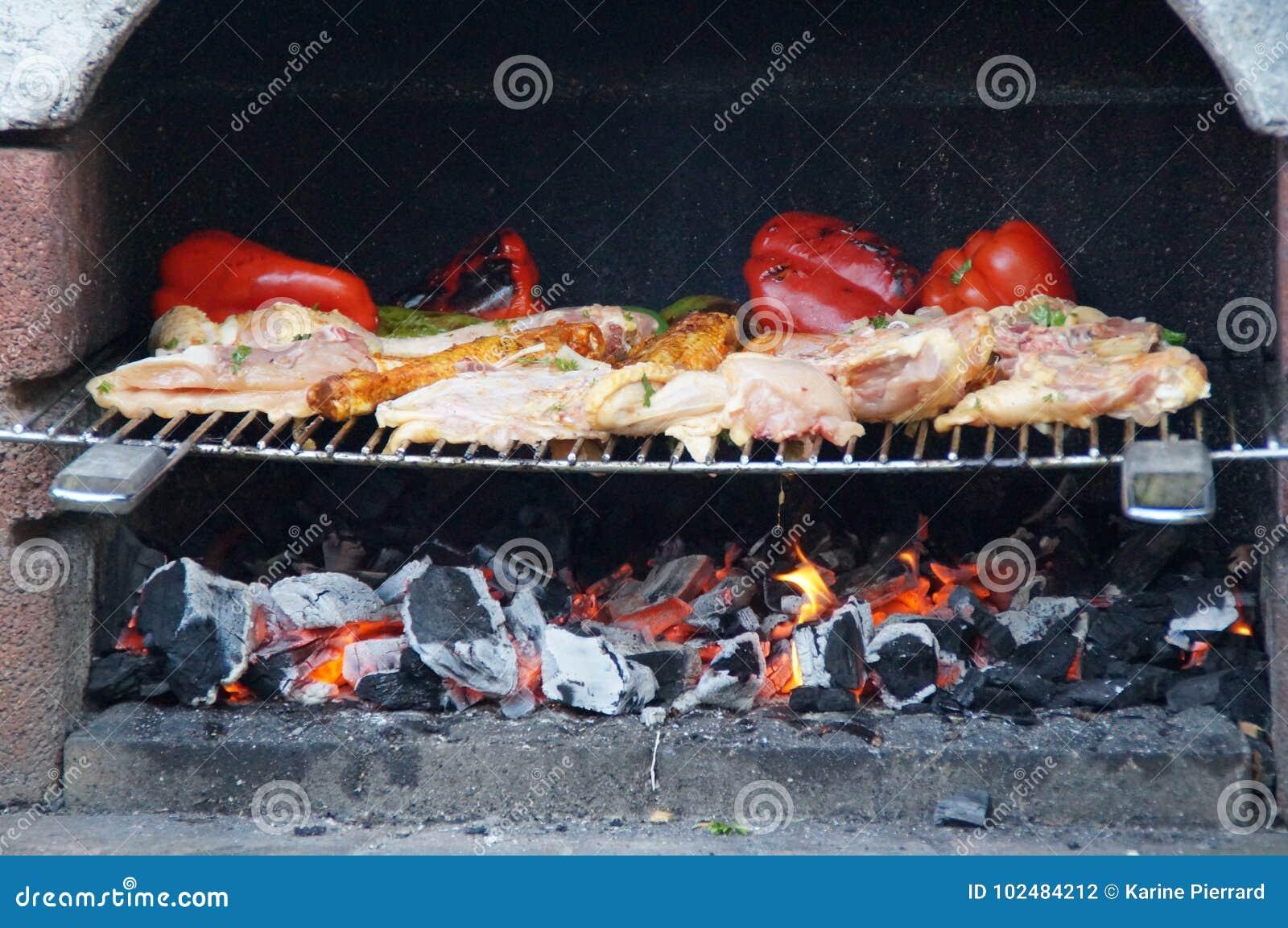 Cozimento no assado Uma refeição deliciosa no assado Pimentas e galinha roasted no assado Refeição do verão