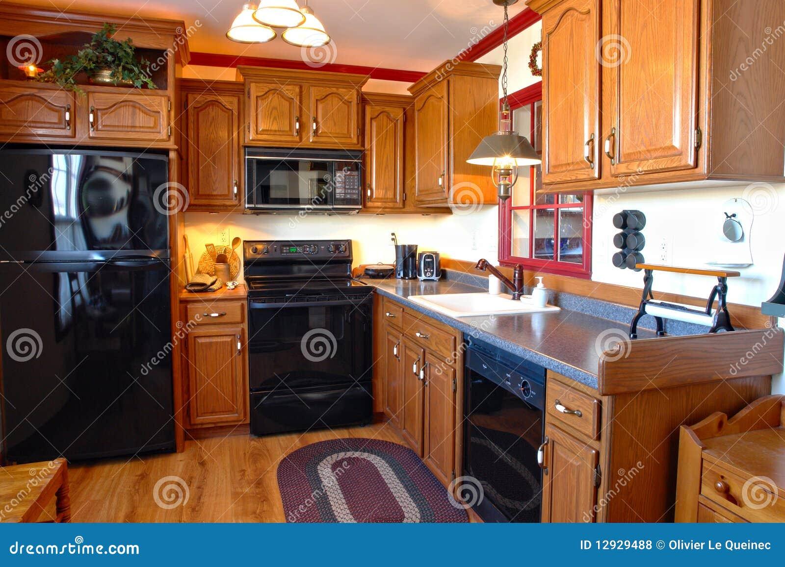 Cozinha Americana Tradicional Da Casa Do Estilo Foto De Stock