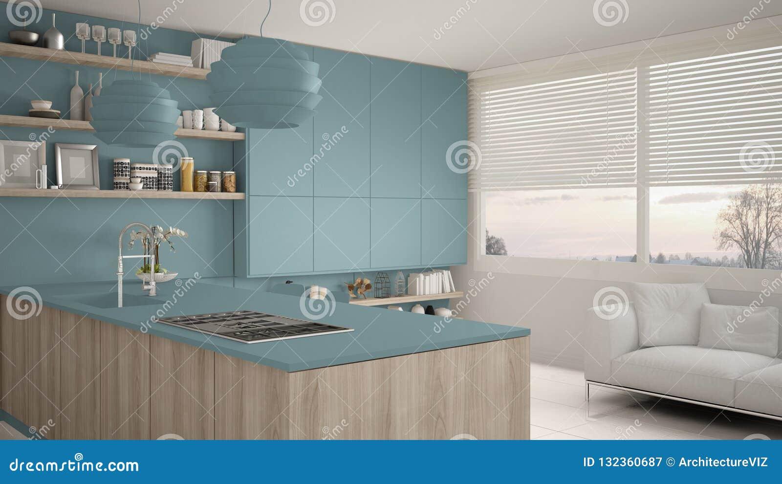Cozinha Azul E De Madeira Moderna Com Prateleiras E Armarios Sofa E Janela Panoramico Ilustracao Stock Ilustracao De Quarto Interior 132360687