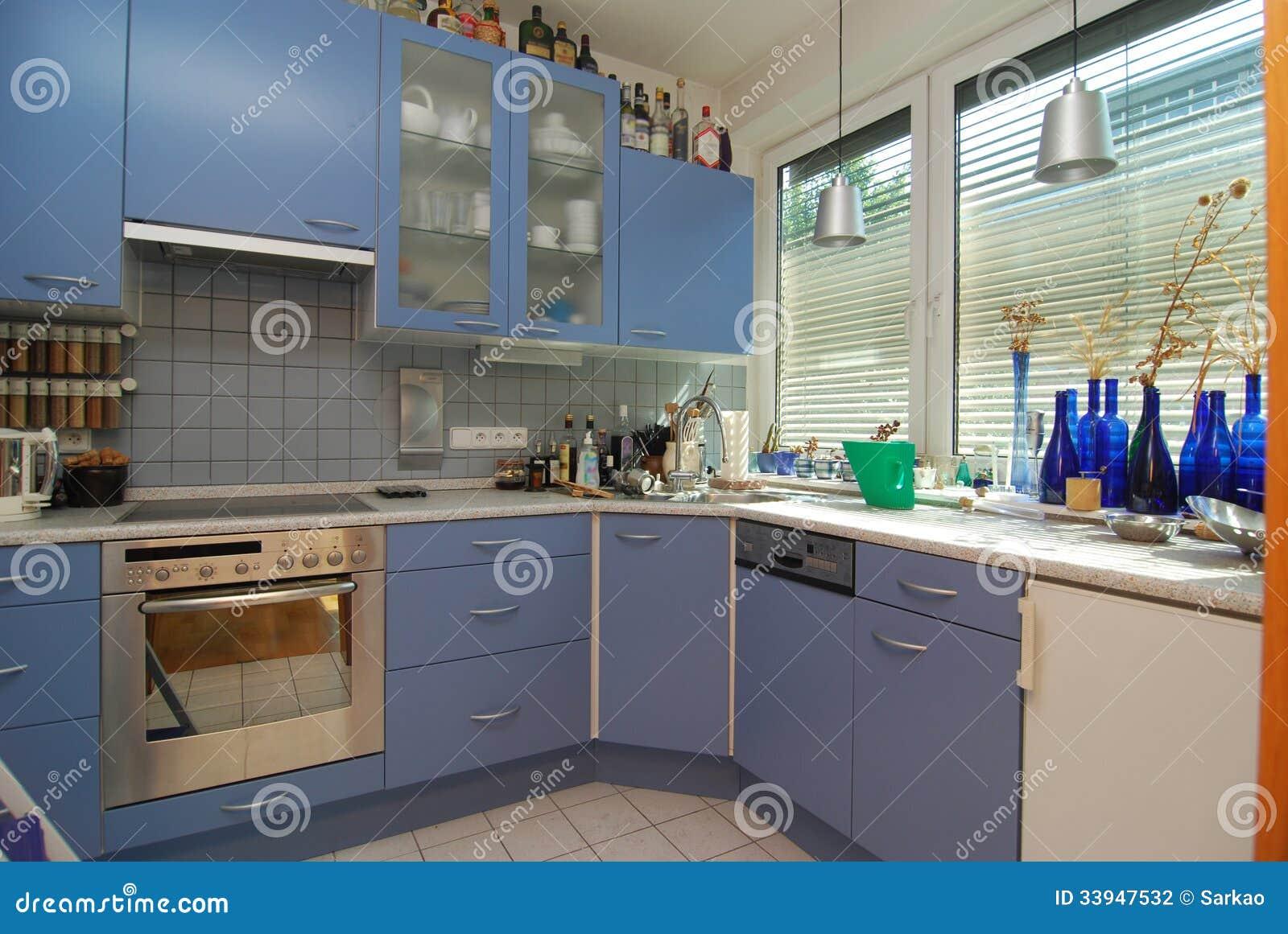Cozinha Azul Simples Fotografia de Stock Imagem: 33947532 #674830 1300x960 Banheiro Azul Simples
