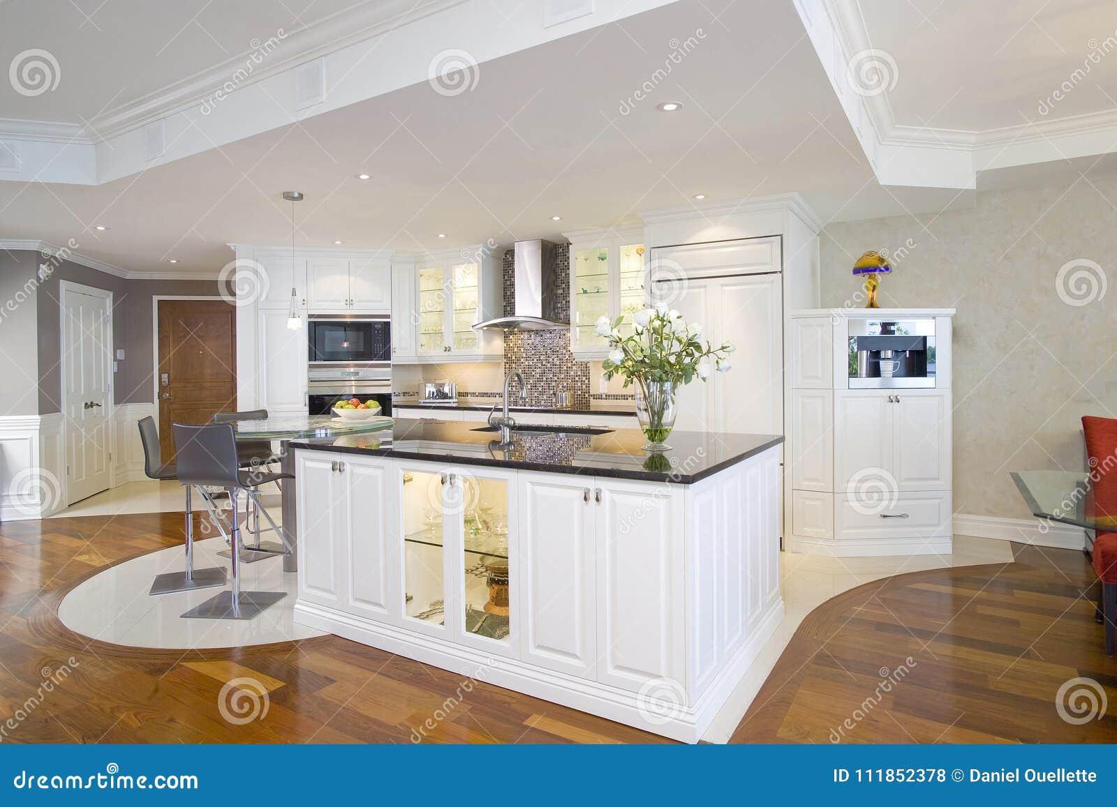 Cozinha Branca Aberta Moderna Com Ilha Maravilhosa Foto De Stock