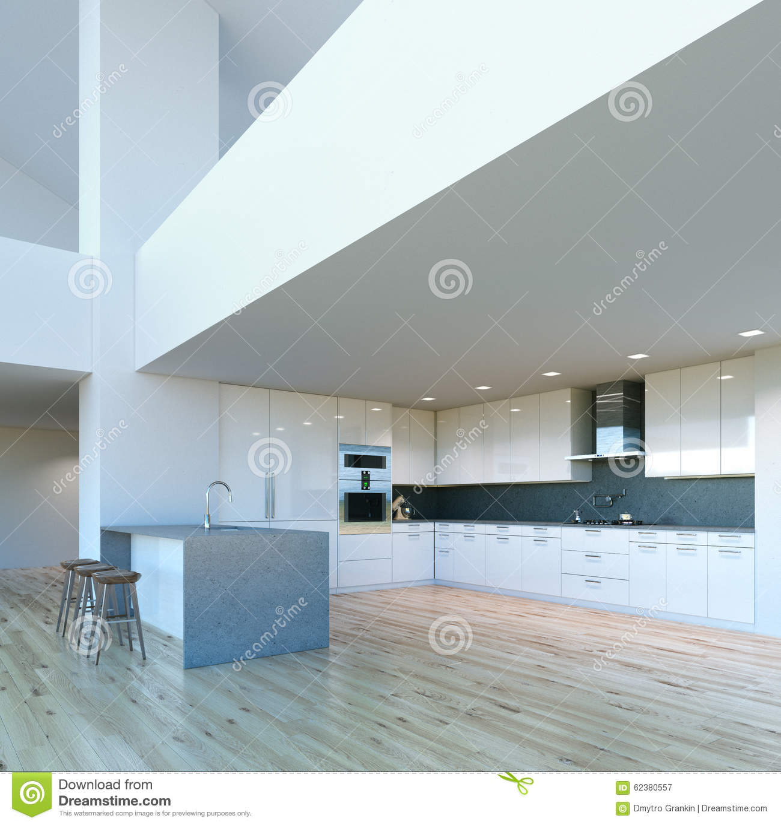Cozinha Branca Contemporanea Decorada Nova No Interior Grande Luxuoso Ilustracao Stock Ilustracao De Interior Nova 62380557