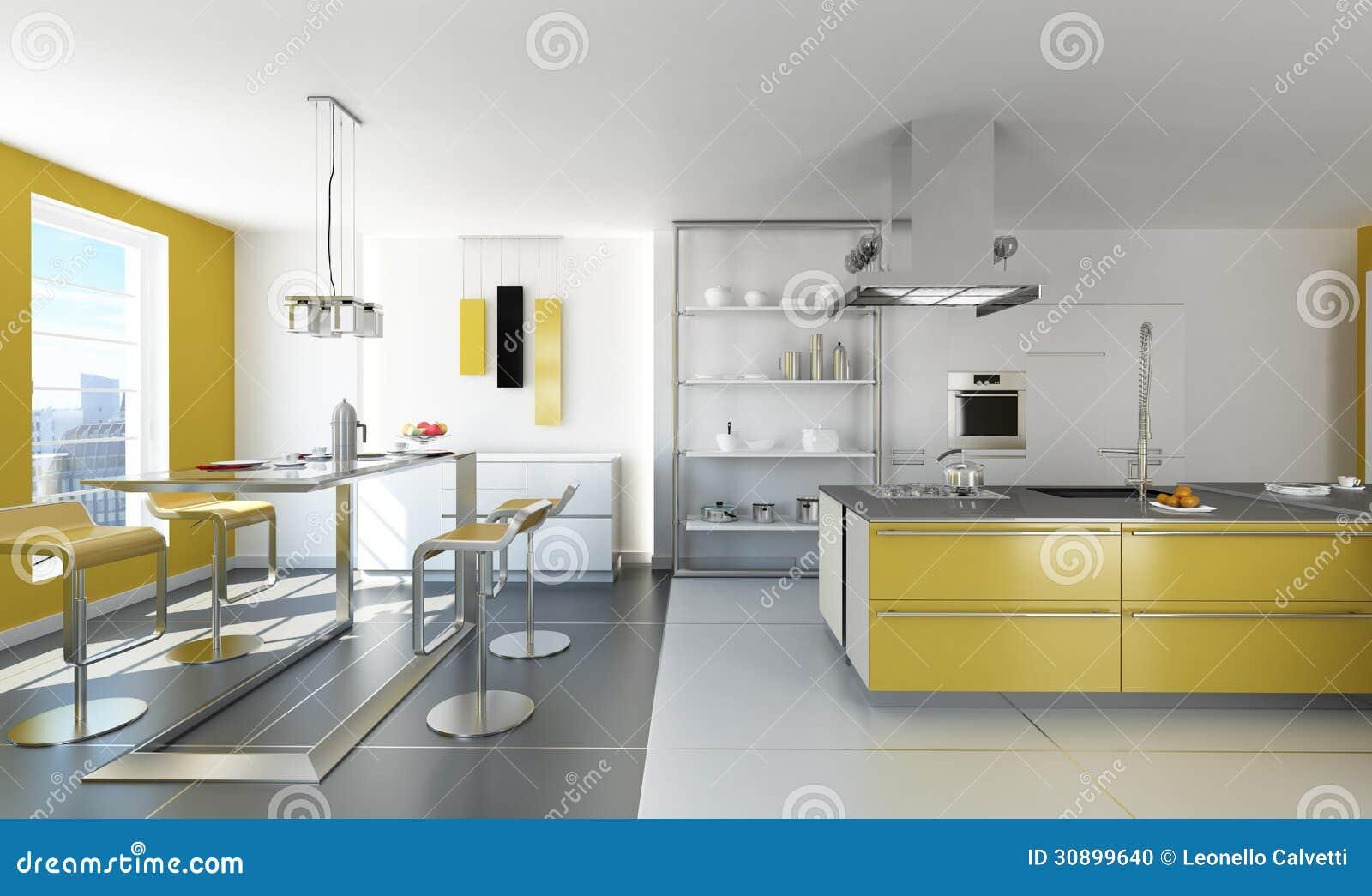 Cozinha branca e amarela moderna foto de stock imagem for Cuisine moderne blanche