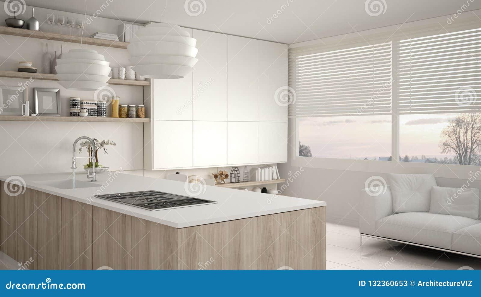 Cozinha branca e de madeira moderna com prateleiras e armários, sofá e janela panorâmico Sala de visitas contemporânea, minimalis