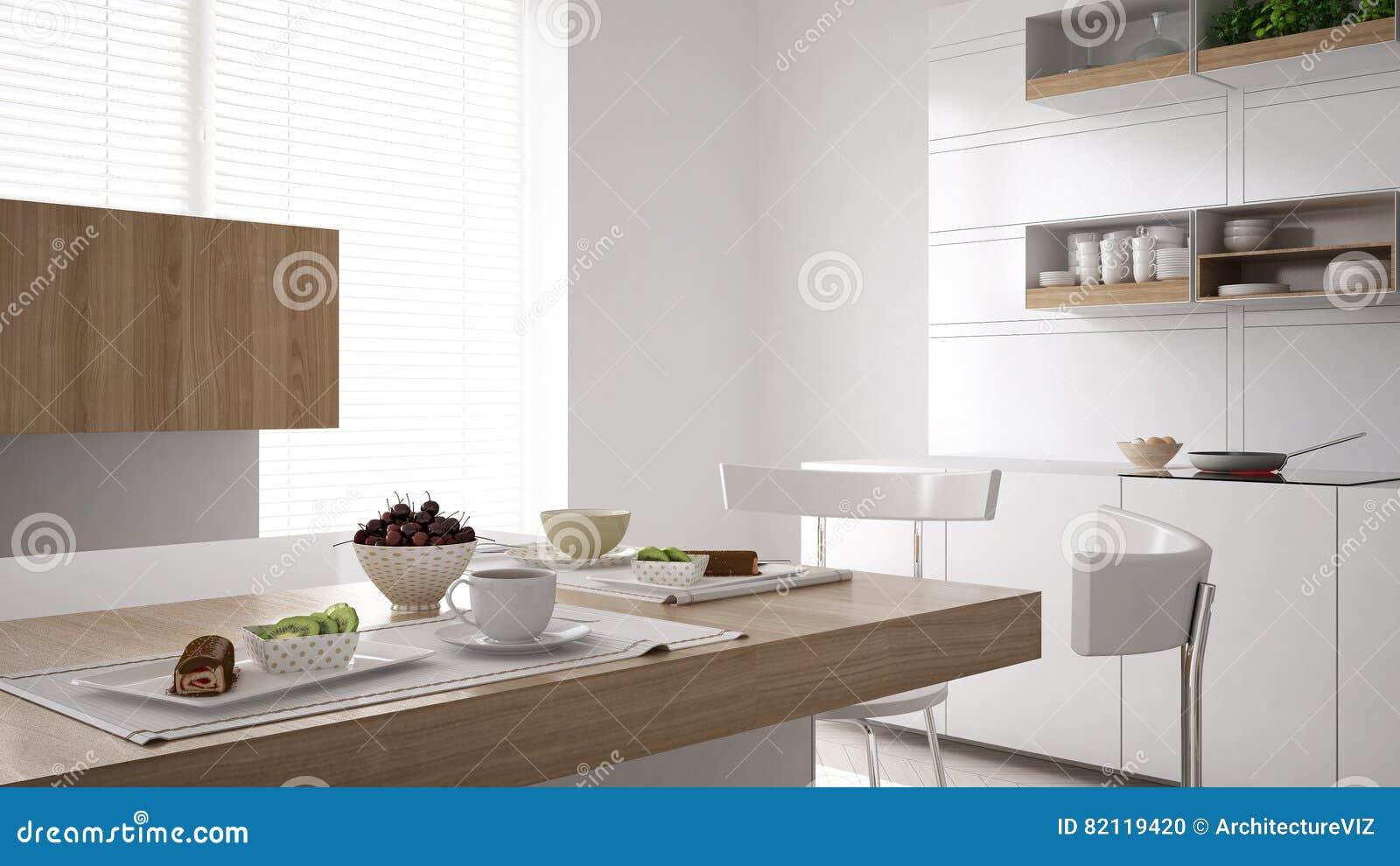 Cozinha branca escandinava com fim do café da manhã acima, minimalistic