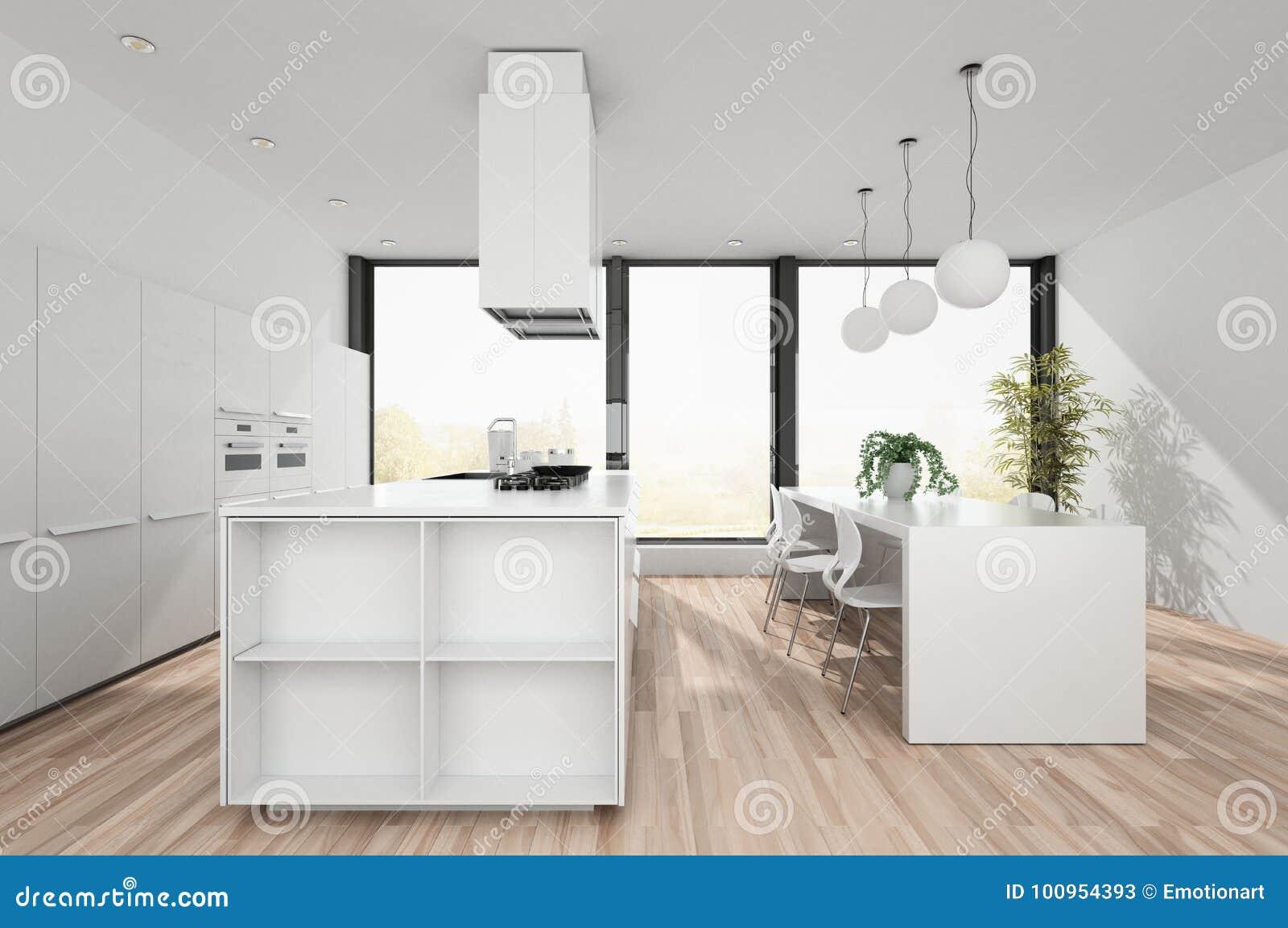 Cozinha Branca Moderna Com Rea De Jantar Ilustra O Stock
