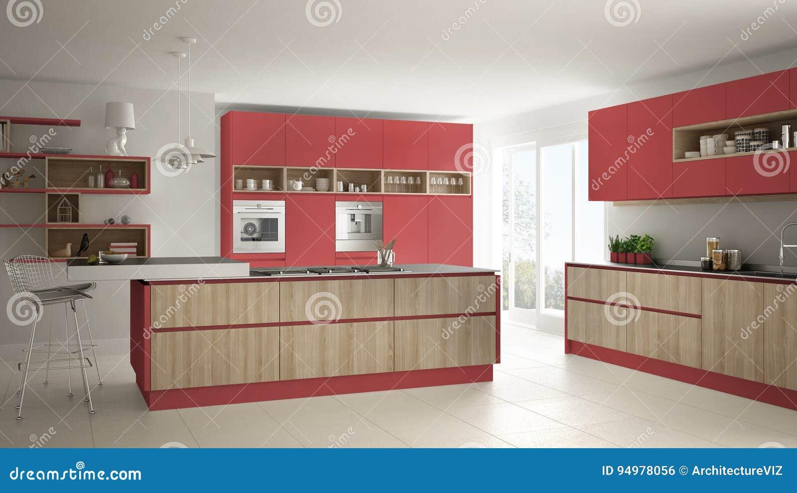 Cozinha branca moderna com detalhes de madeira e vermelhos, i minimalistic