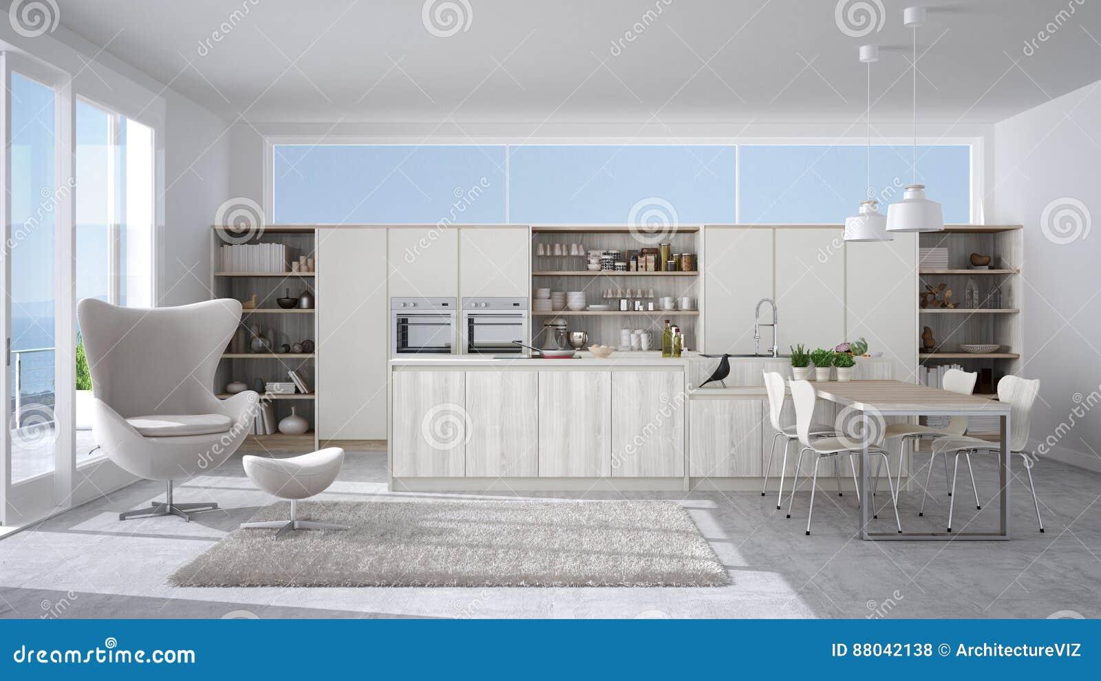Cozinha Branca Moderna Com Detalhes De Madeira A Janela Grande Com