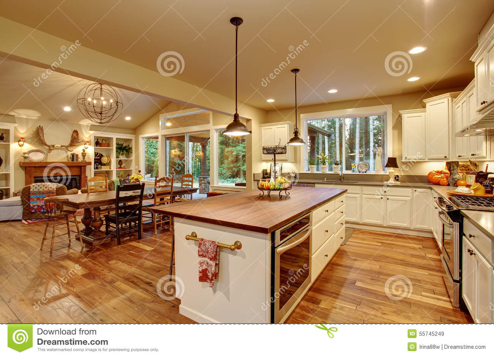 Cozinha Cl Ssica Com Assoalho De Folhosa E Uma Ilha Imagem De Stock