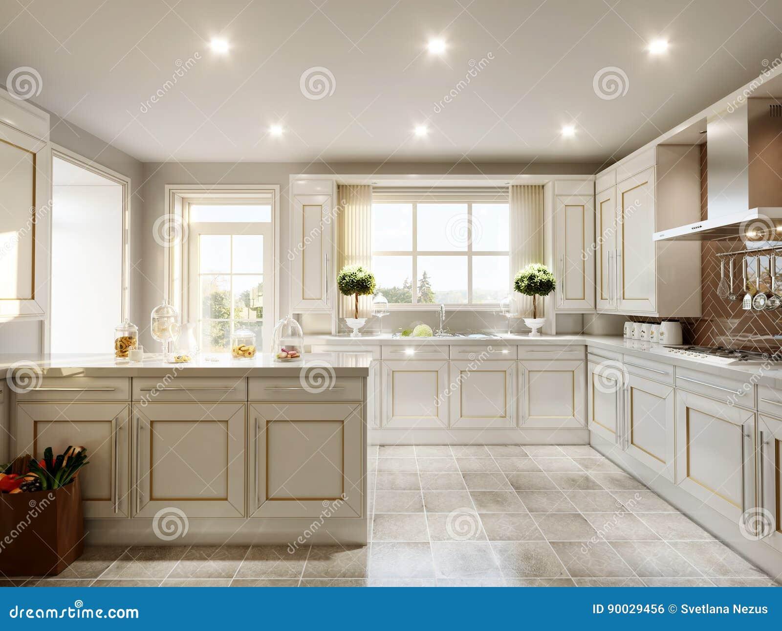 Cozinha Cl Ssica Inglesa Moderna Do Estilo Ilustra O Stock