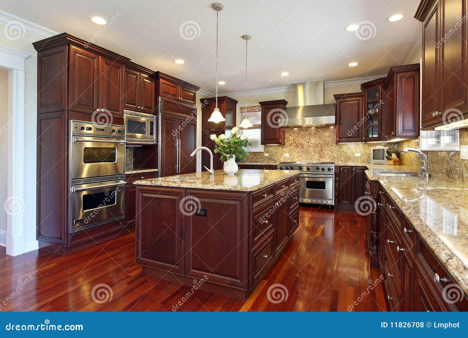 #82A229 Cozinha Com Cabinetry Da Madeira Da Cereja Fotos de Stock Royalty Free  1300x957 px Melhoria Home Da Cozinha_10 Imagens