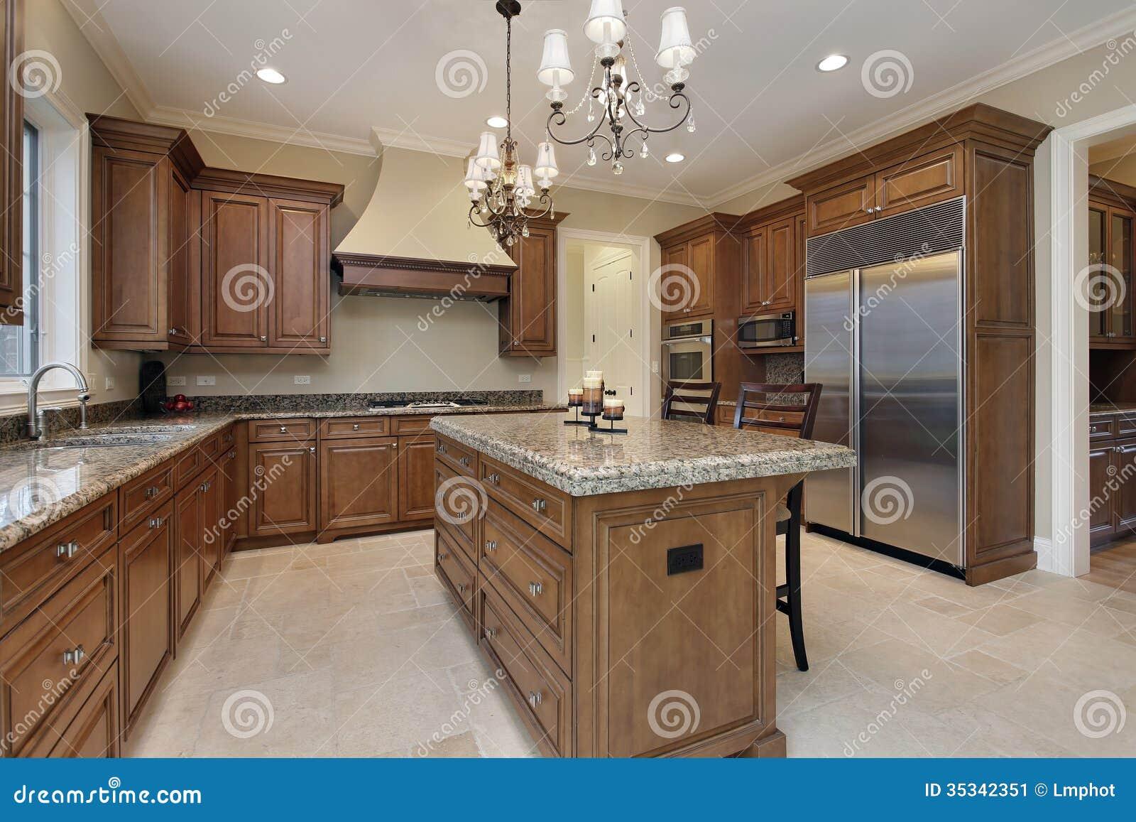 Cozinha Com Ilha Do Granito Imagem De Stock Imagem De Home