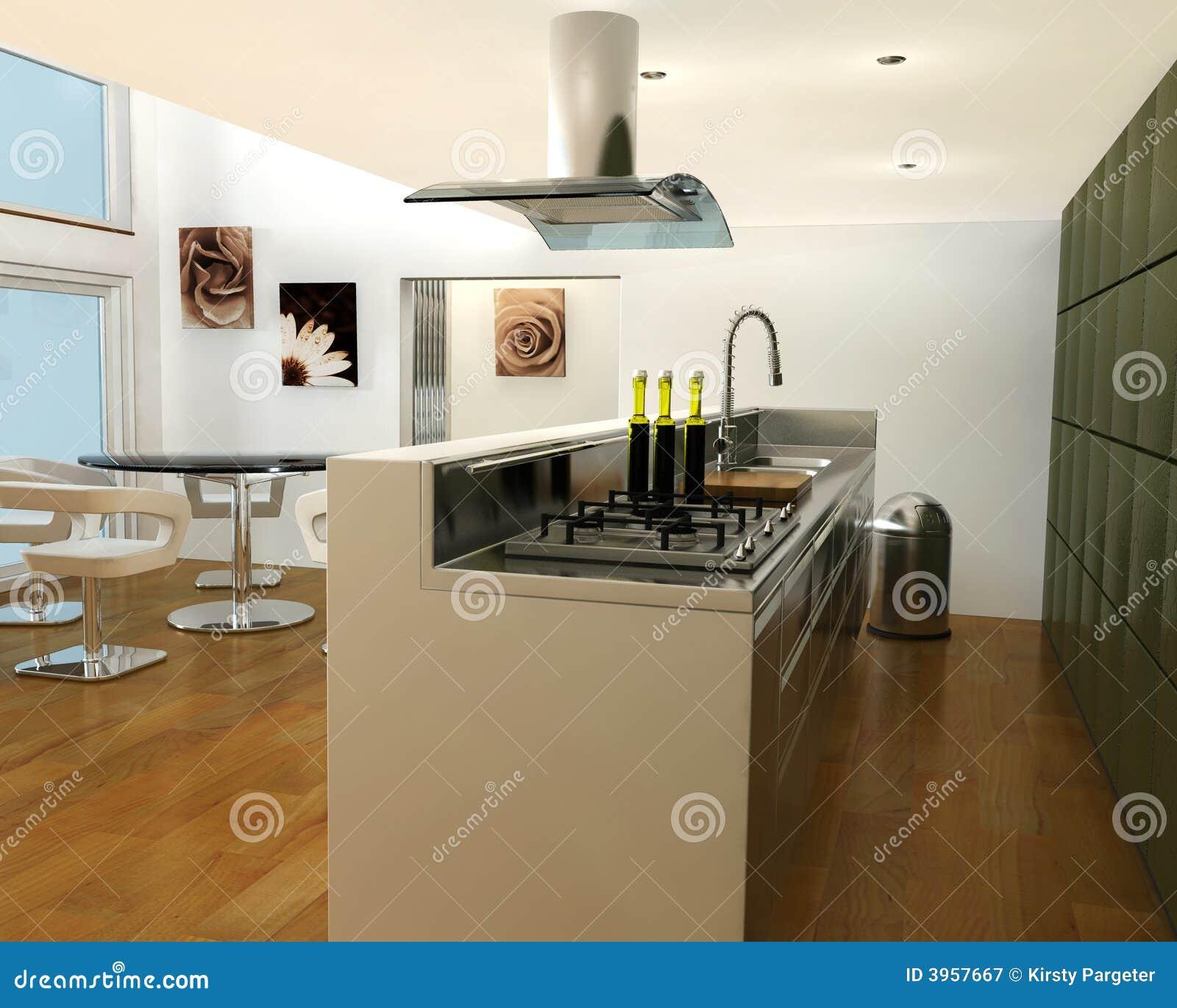 3D rendem de um interior de uma cozinha contemporânea. #9FA922 1300 1130