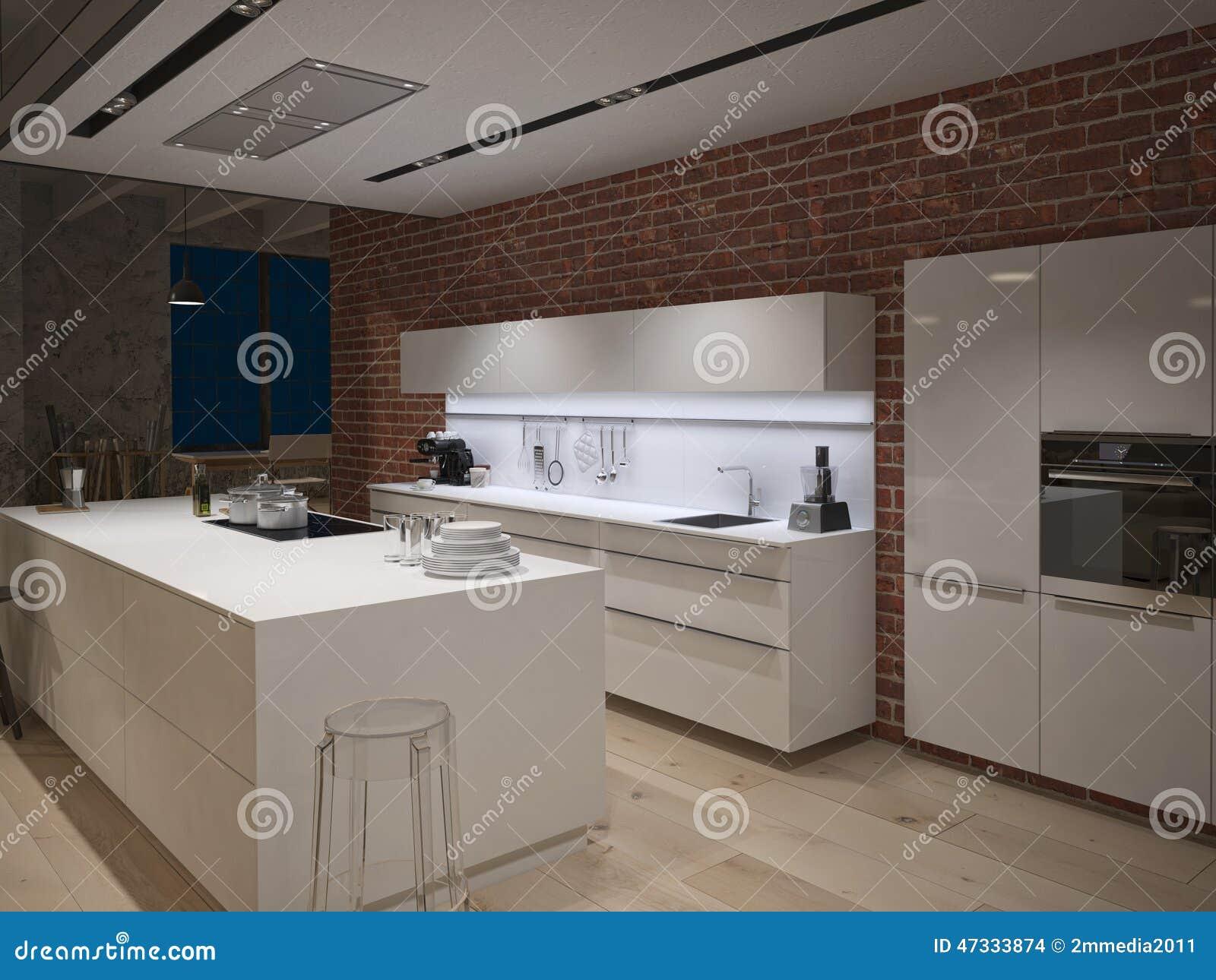 Cozinha de aço contemporânea em industrial convertido