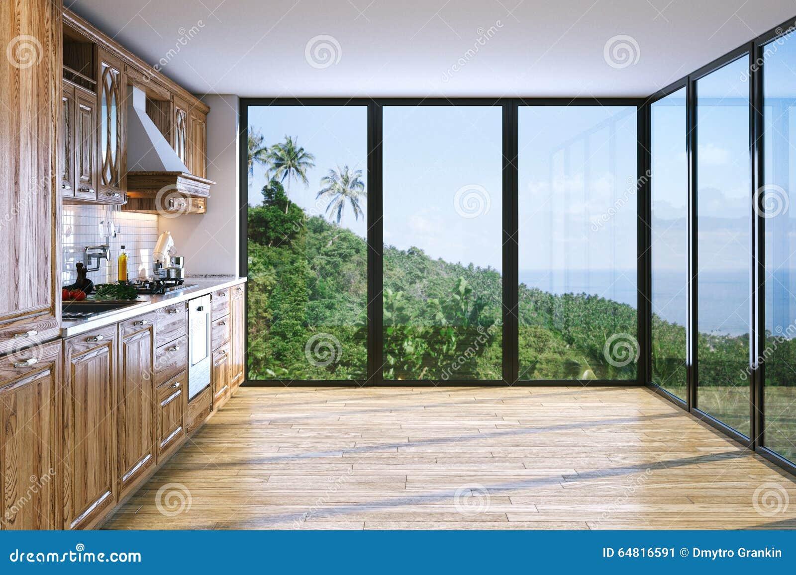 Cozinha De Madeira Brilhante Moderna Na Casa De Campo Na Ilha Do