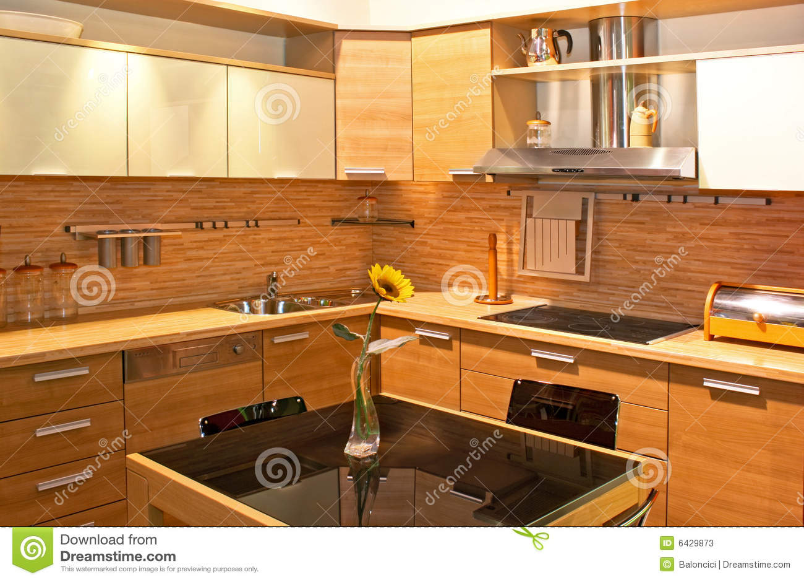 Cozinha De Madeira Clara Fotos de Stock Imagem: 6429873 #C08A0B 1300x957