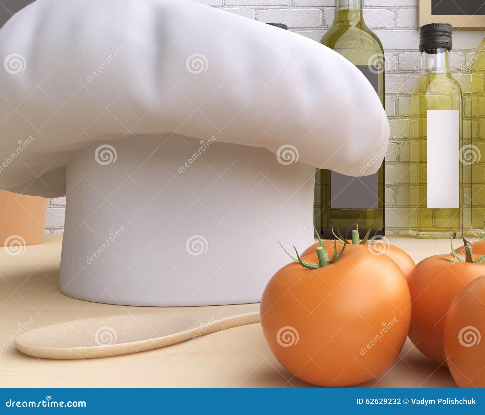 Cozinha de marcagem com ferro quente do modelo com tabela e kitchenware