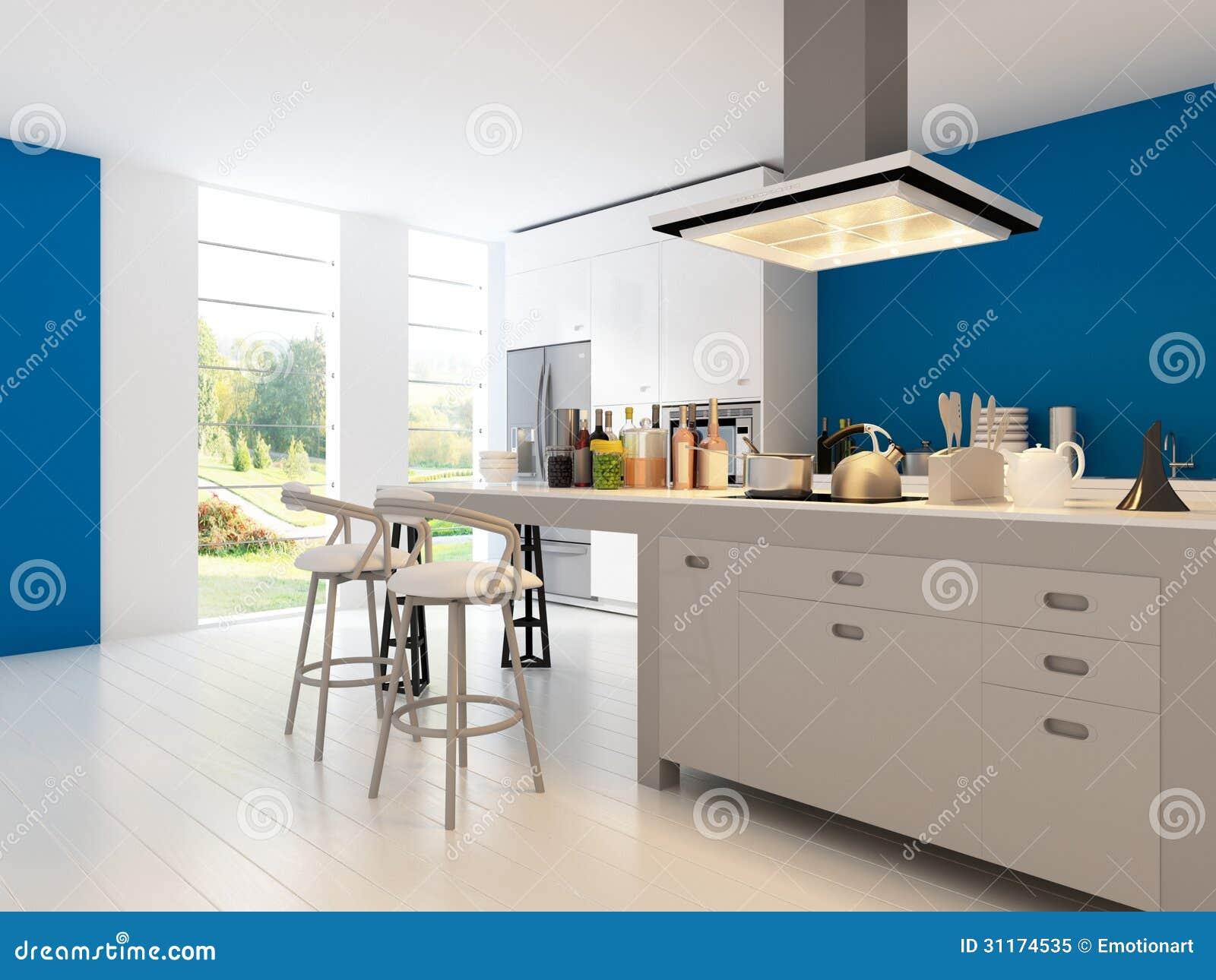 Foto de Stock Royalty Free: Cozinha do projeto moderno Arquitetura  #004D77 1300 1065